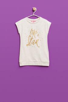 Print dress with glitter, Beige, hi-res