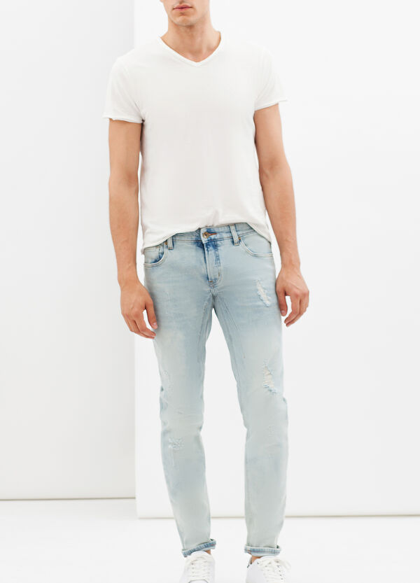 Used-effect skinny fit, stretch jeans | OVS