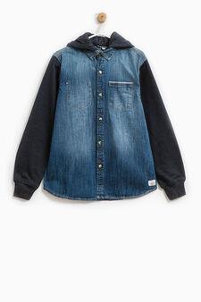 Denim shirt with hood, Blue, hi-res