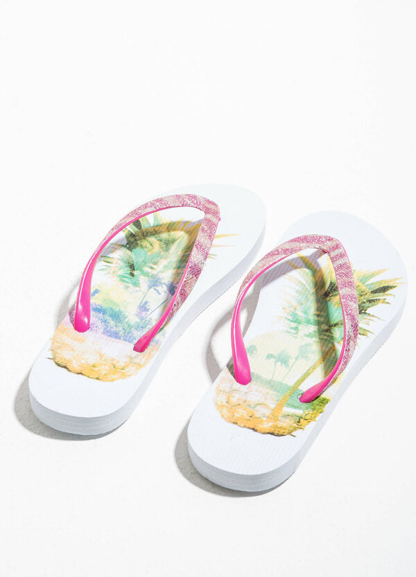 Rubber flip flops with print | OVS