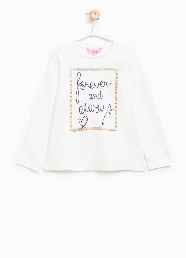 T-shirt con stampa lettering glitterata | OVS