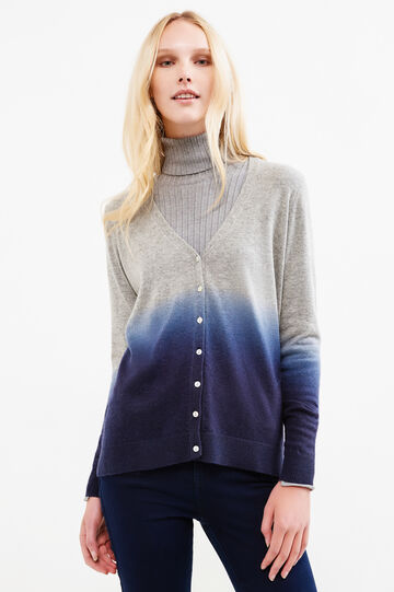 Degradé-effect, wool blend cardigan, Grey, hi-res