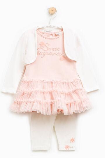 Completo coprispalle leggings e vestitino, Bianco/Rosa, hi-res
