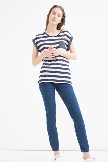Linen blend striped T-shirt, White/Blue, hi-res
