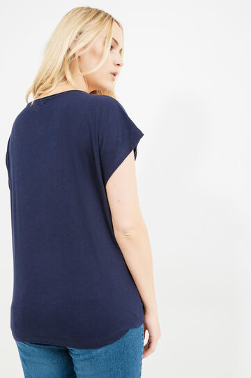 T-shirt cotone con pizzo Curvy, Blu, hi-res