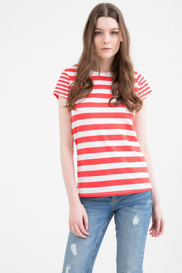 Striped T-shirt in 100% cotton, Red, hi-res
