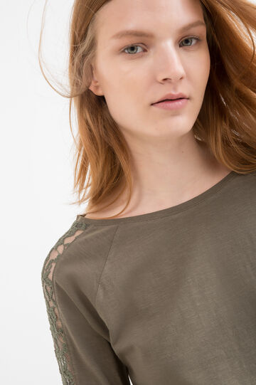 100% cotton T-shirt with lace, Army Green, hi-res