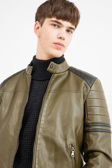 Leather look jacket with stitching, Olive Green, hi-res