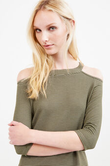 Striped viscose blend dress, Green, hi-res