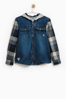 Check denim shirt with hood, Blue, hi-res