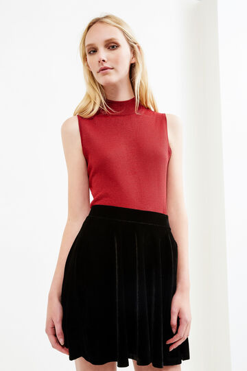 Sleeveless turtleneck with lurex, Red, hi-res
