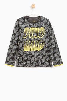 T-shirt cotone fantasia dinosauri, Grigio scuro, hi-res