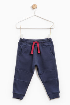 Cotton joggers with drawstring, Navy Blue, hi-res