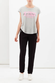 T-shirt sportiva stampata, Grigio chiaro melange, hi-res