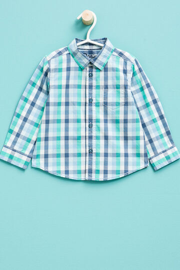 Check shirt in 100% cotton, Blue/Green, hi-res