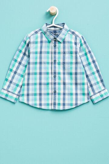 Camisa de cuadros de algodón 100%, Azul/Verde, hi-res