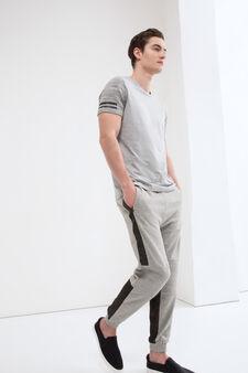 Pantaloni tuta con inserti a contrasto, Grigio, hi-res