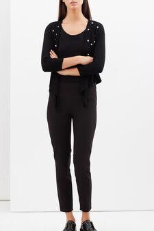 Open cardigan with floral appliqués, Black, hi-res