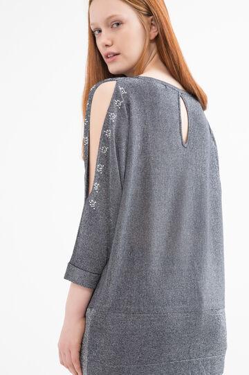 Curvy diamanté pullover, Navy Blue, hi-res