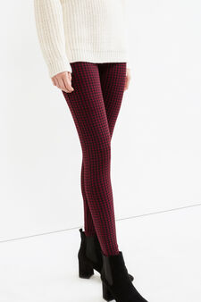 Patterned leggings in stretch cotton, Multicolour, hi-res