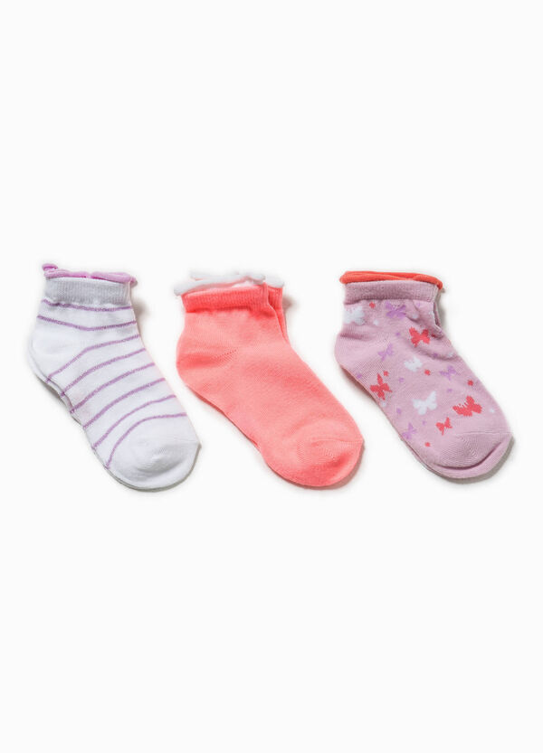 Three-pair pack socks with stripes and glitter | OVS