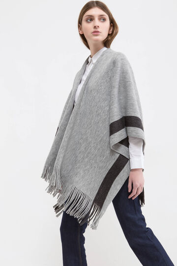 Cape with fringe, Grey, hi-res