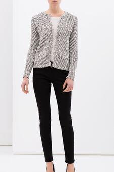 Plain cotton blend cardigan with frayed edging, White/Black, hi-res