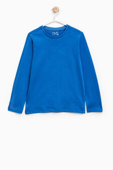 T-shirt maniche lunghe puro cotone, Blu chiaro, hi-res