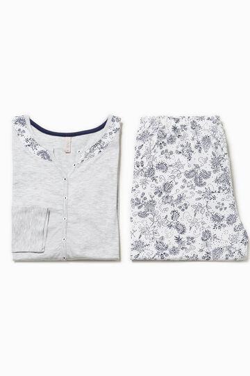 Patterned mélange cotton pyjamas, Blue/Grey, hi-res