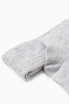 Collant tricot tinta unita cotone, Grigio melange, hi-res