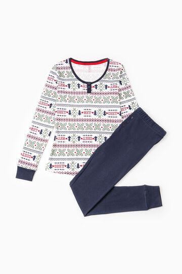 Solid colour 100% cotton pyjamas, White/Blue, hi-res