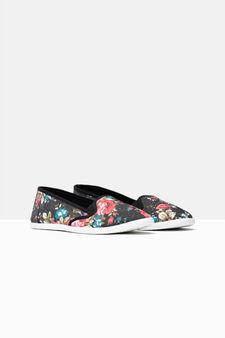 Floral canvas slip-on sneakers, Black, hi-res