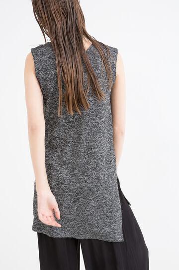 Viscose blend stretch long top, Black, hi-res