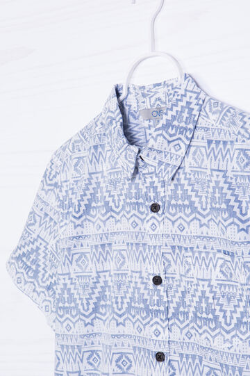 Cotton T-shirt with print on pocket, White, hi-res