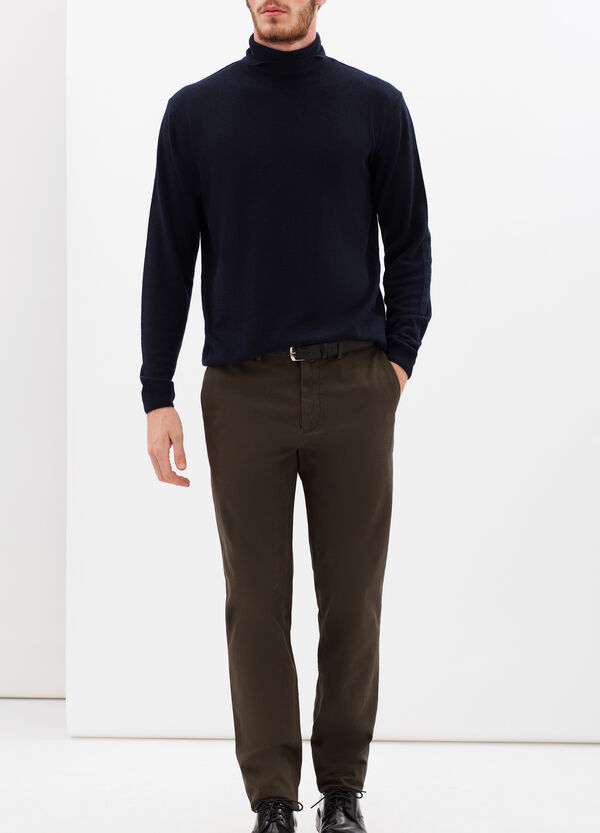 Rumford stretch cotton trousers with zip | OVS