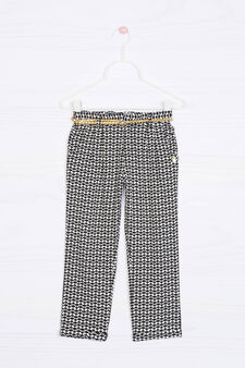 100% viscose patterned trousers, Light Grey, hi-res