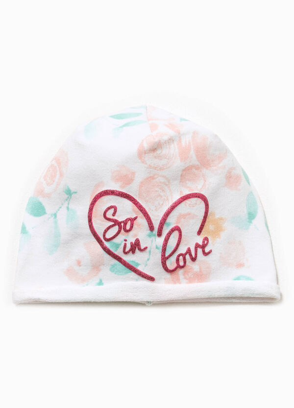 Patterned beanie cap with glitter print | OVS
