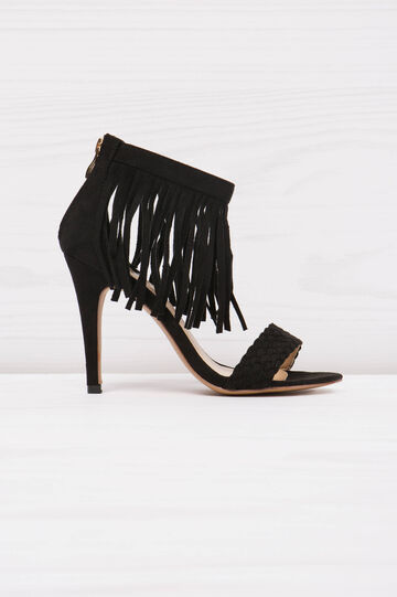 Sandals with heels and fringe