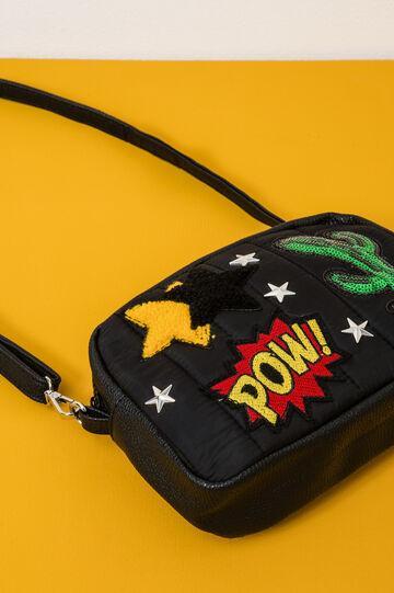 Shoulder bag with studs and patch, Black, hi-res