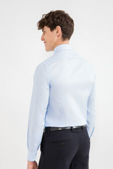 Solid colour slim-fit cotton formal shirt, Soft Blue, hi-res