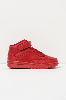 Solid colour high-top sneakers with Velcro fastening, Red, hi-res