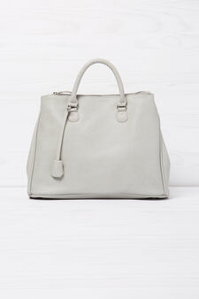 Solid colour handbag with shoulder strap, Light Grey, hi-res