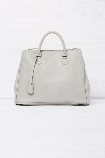 Solid colour handbag with shoulder strap, Light Grey, hi-res