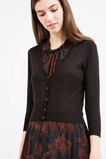 V-neck viscose blend cardigan, Black, hi-res