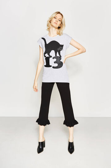 Cotton T-shirt with glitter print
