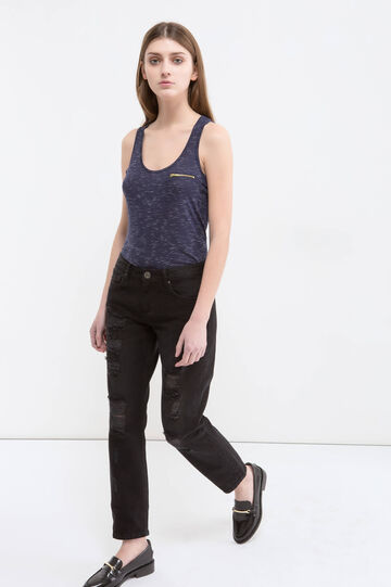Viscose blend top with zip, Blue, hi-res