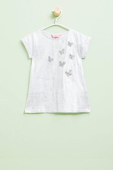 Camiseta con purpurina y lentejuelas de mariposa, Blanco óptico, hi-res