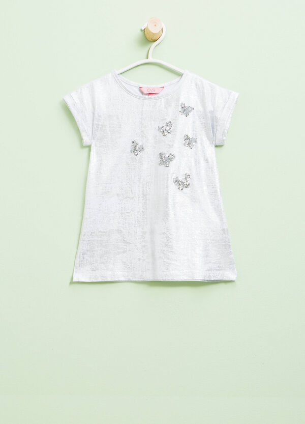Glitter T-shirt with butterfly sequins | OVS