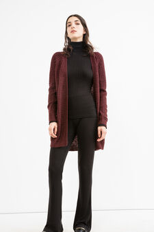 Long cardigan without buttons, Wine Purple, hi-res