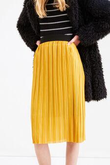 Pleated midi skirt, Golden Yellow, hi-res